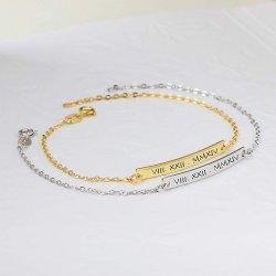 roman numeral  bar bracelet in 18k gold plating